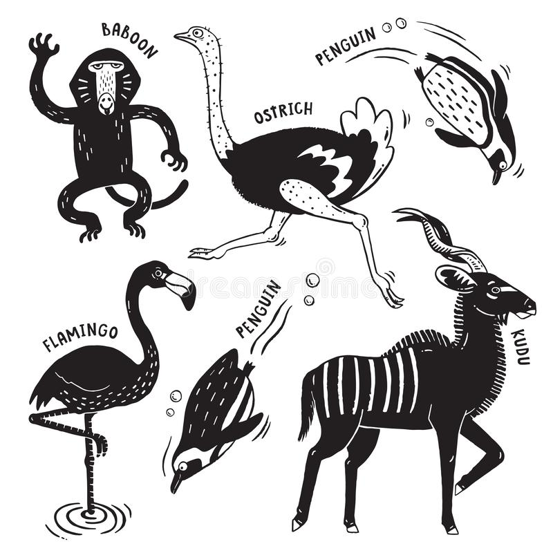 Wild African Animals in black and white vector illustration