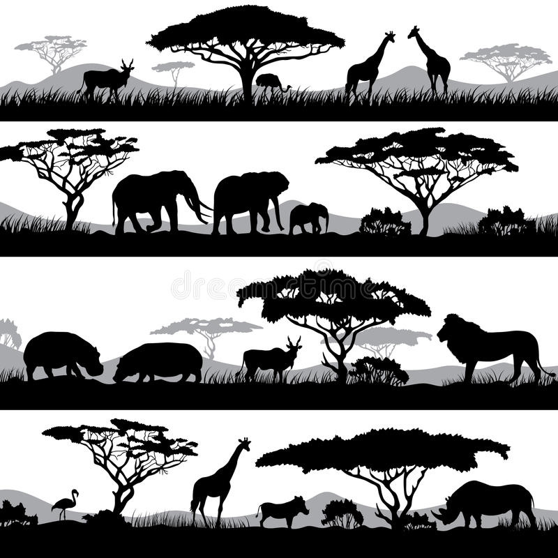 Wild african life. Background silhouettes of different animals and trees stock illustration