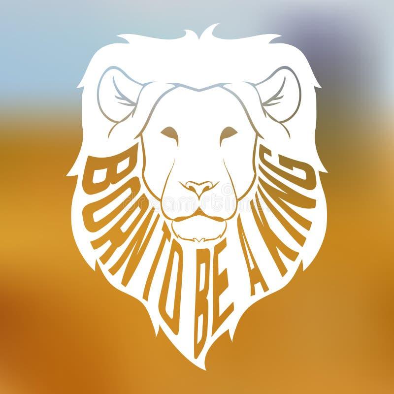Wild Afrikaans leeuw hoofdsilhouet met binnen tekst vector illustratie