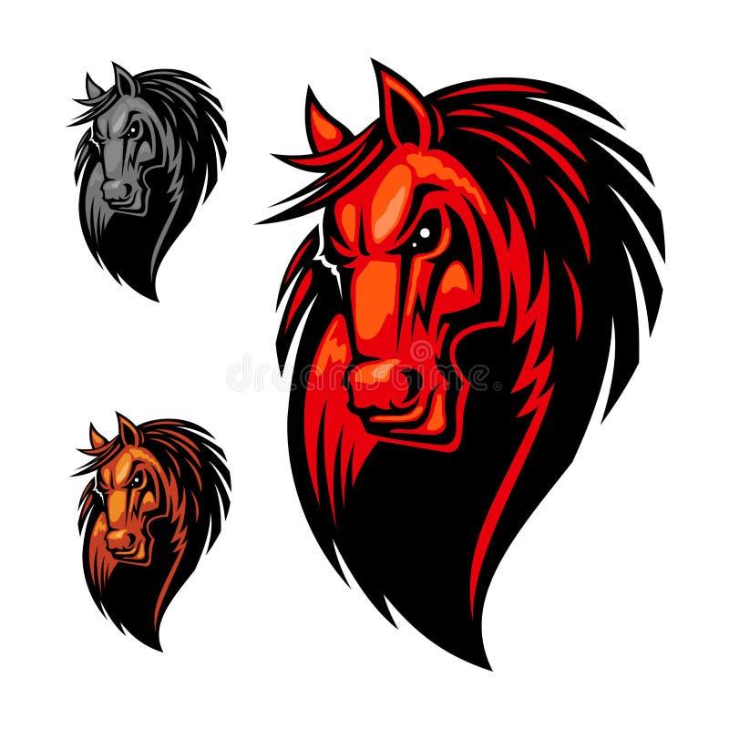 Wild angry horse head mascot vector illustration