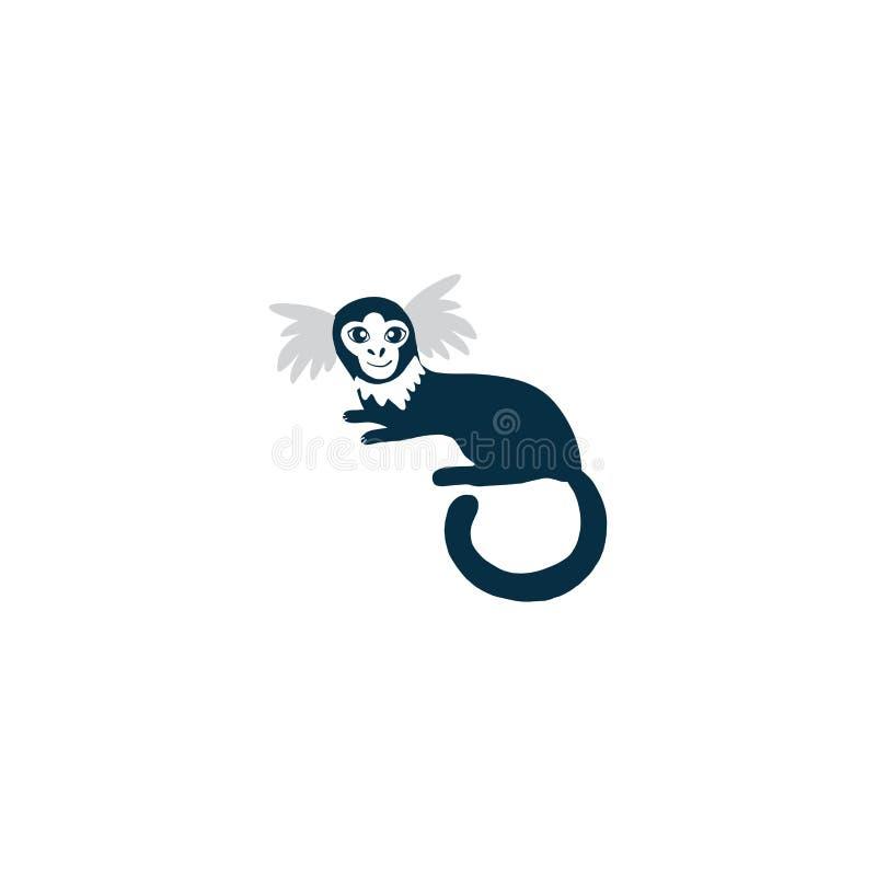 Wild animal cartoon character design marmoset, Cute flat vector illustration isolated on white, South America fauna vector illustration