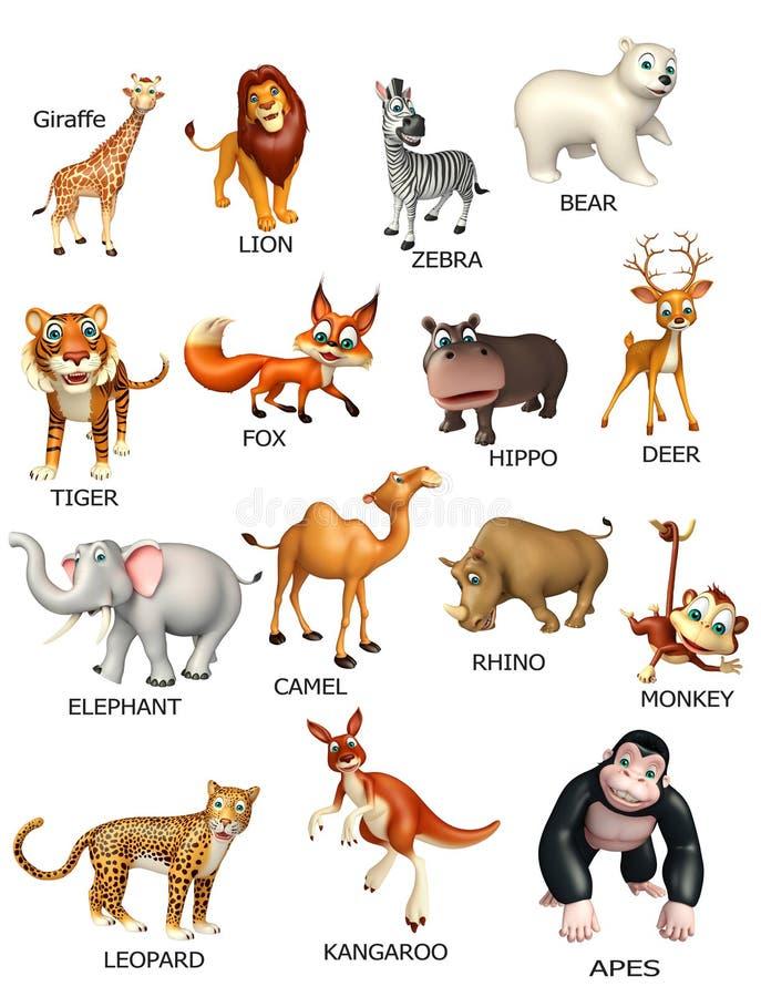 Wild animal chart. 3d rendered illustration of wild animal chart royalty free illustration