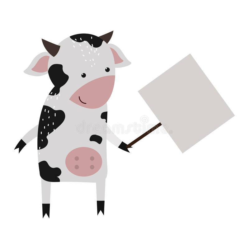 Wild animal cow strike with clean plate board vector. Wild animal zoo strike with clean plate board vector cartoon. Farm cow character silhouette standing with stock illustration