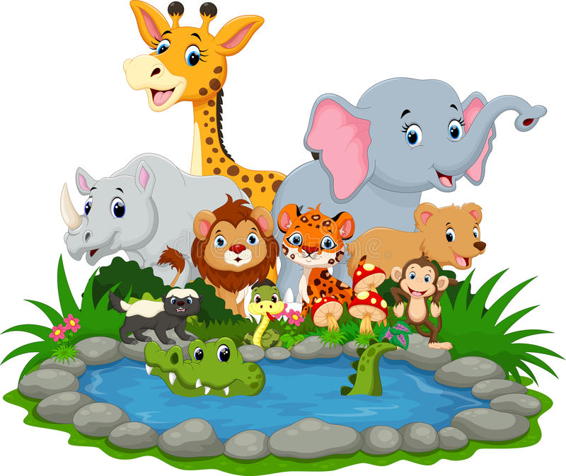 Wild animal with a crocodile in a small lake vector illustration