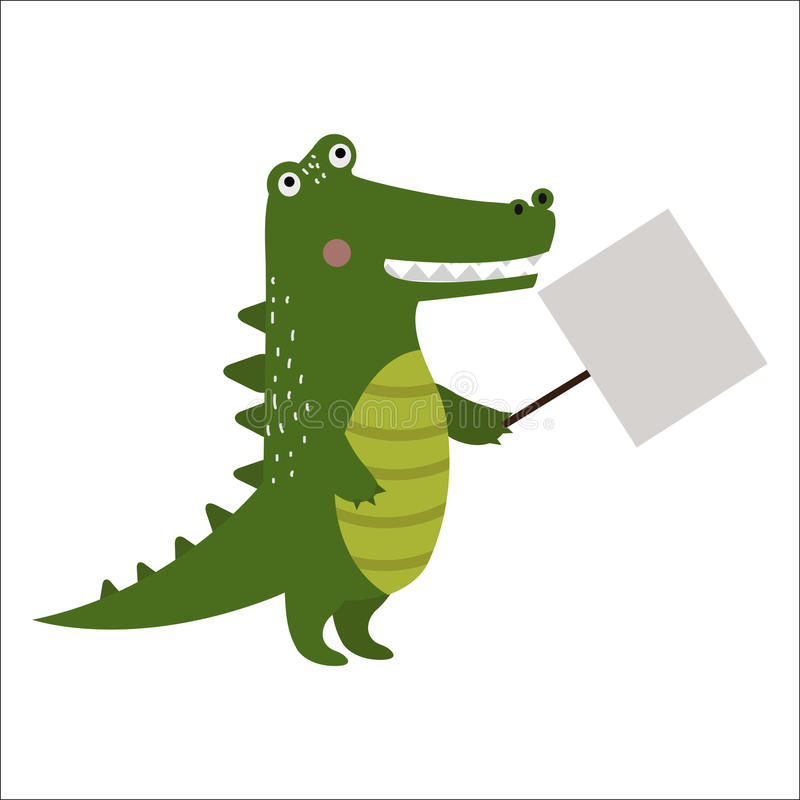 Wild animal crocodile strike with clean plate board vector. Wild animal zoo strike with clean plate board vector cartoon. Jungle crocodile character silhouette vector illustration