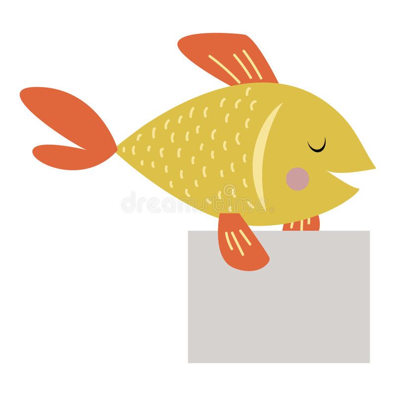 Wild animal fish strike with clean plate board vector. royalty free illustration