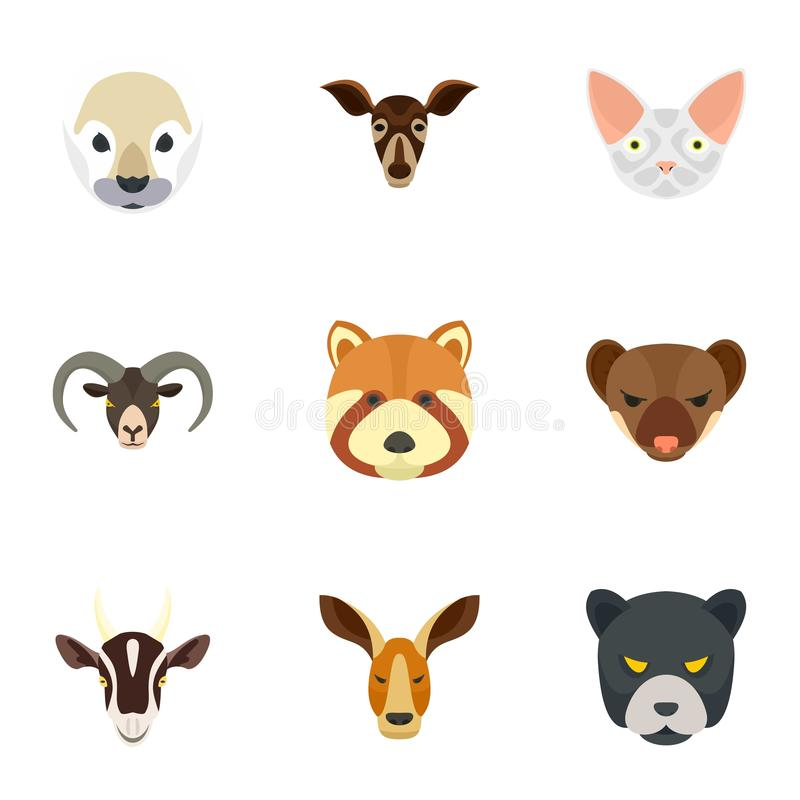 Wild animal icon set, flat style. Wild animal icon set. Flat set of 9 wild animal vector icons for web design stock illustration