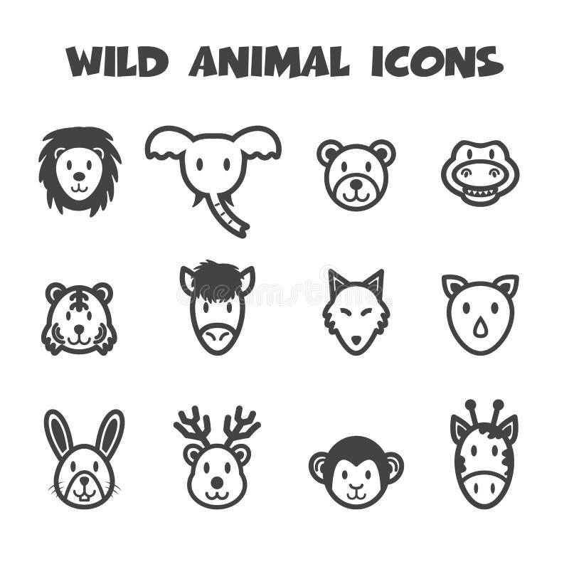 Wild animal icons. Mono vector symbols vector illustration