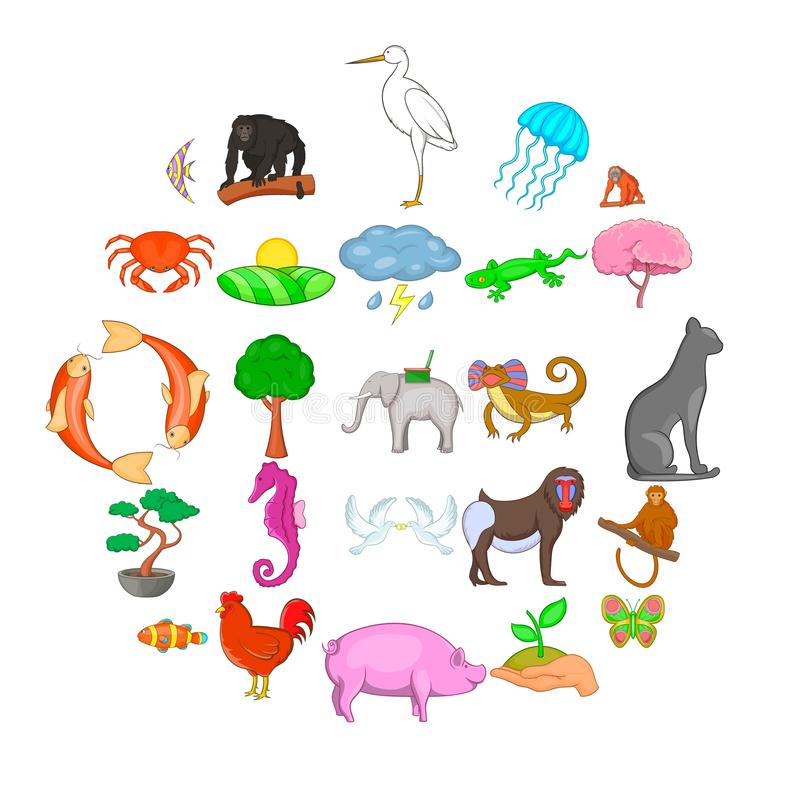 Wild animal icons set, cartoon style. Wild animal icons set. Cartoon set of 25 wild animal vector icons for web isolated on white background royalty free illustration