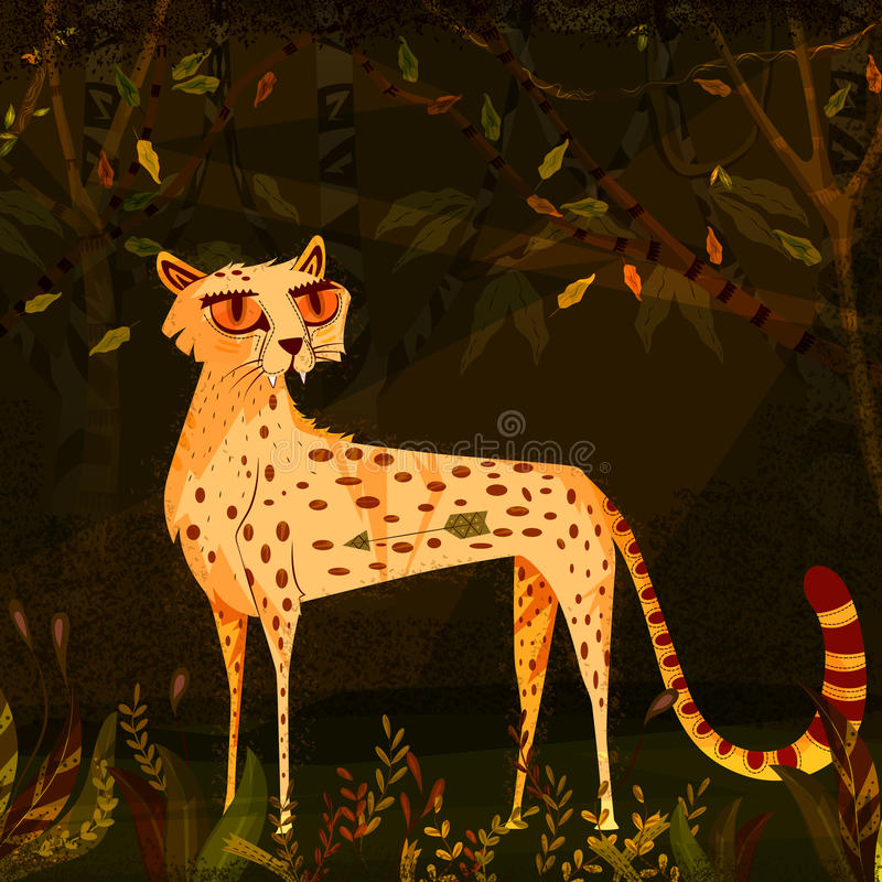 Wild animal Leopard in jungle forest background royalty free illustration