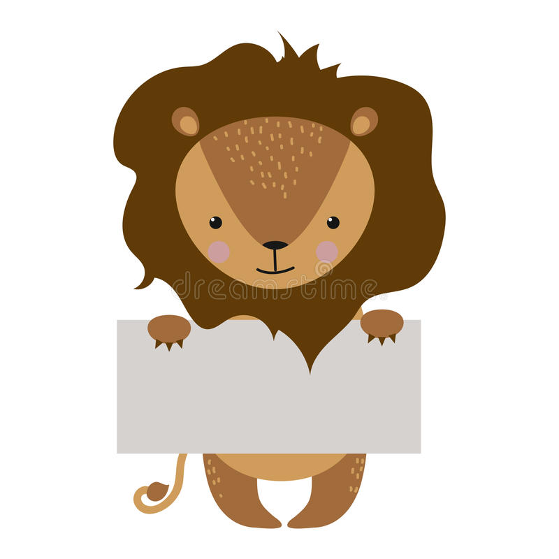 Wild animal lion strike with clean plate board vector. vector illustration