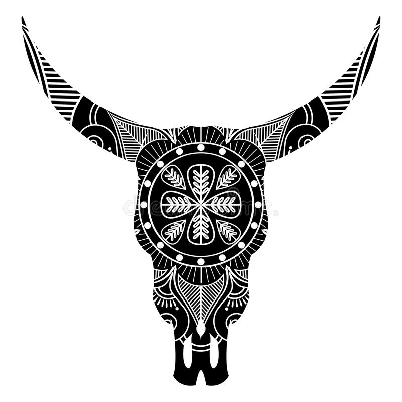 Free Wild Animal Skull In Black And White Inspired By Hand Drawn Art And Native American People Tattoos And Art With Manadala Decor Stock Photo - 91856460
