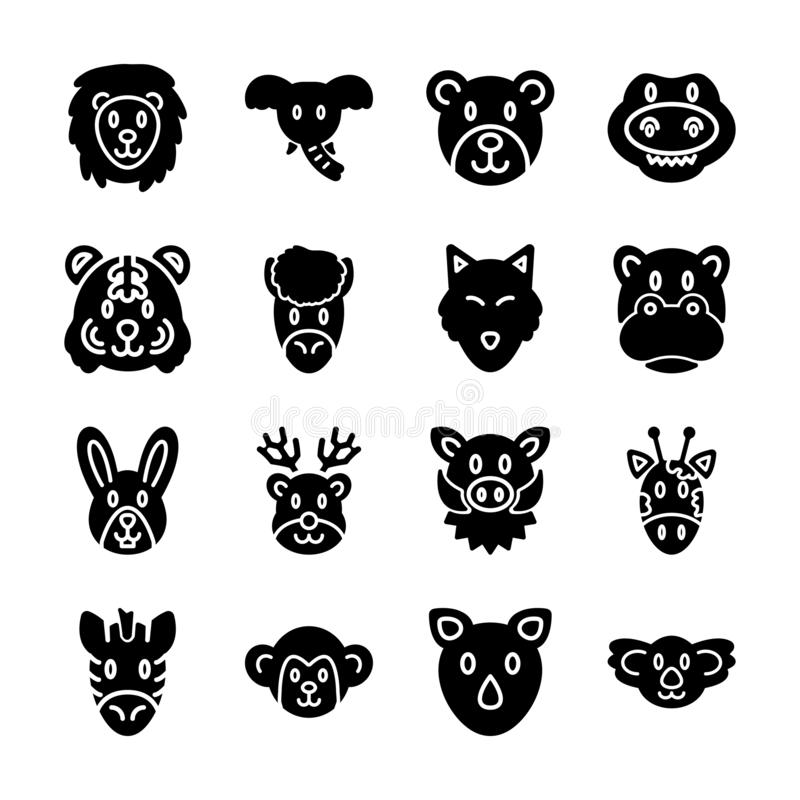 Wild animal solid icons. Vector design stock illustration