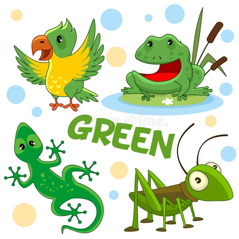 Free Wild Animals And Insects Of Green Color 2 Stock Image - 121094101