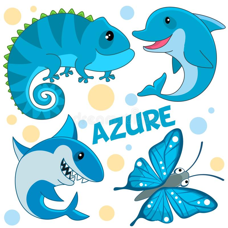 Wild animals are azure. A set of wild marine animals, reptiles and an insect azure color for children and design. Image of a shark, dolphin, butterfly and stock illustration