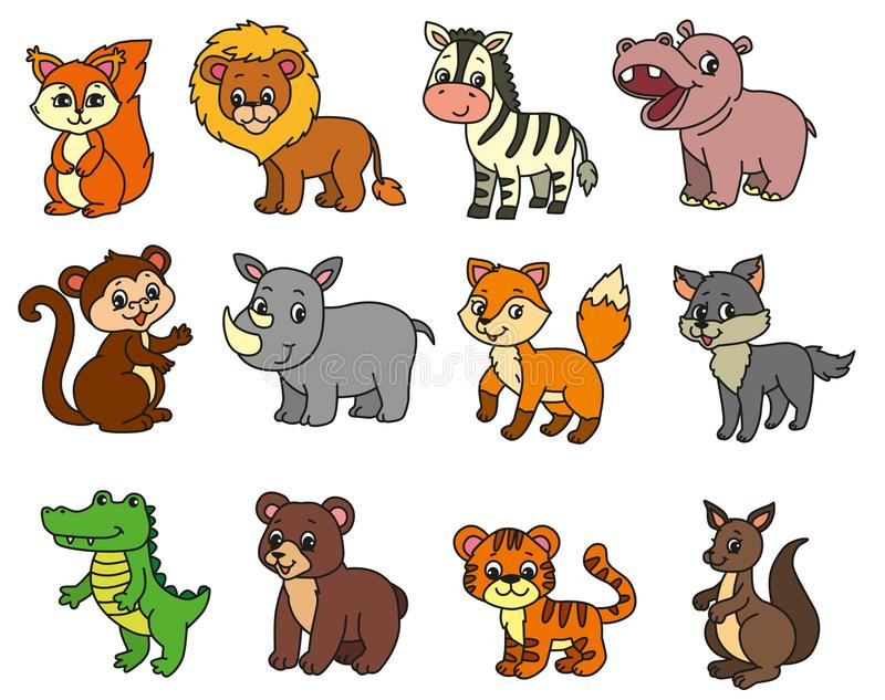 Wild animals cartoon illustration royalty free stock images