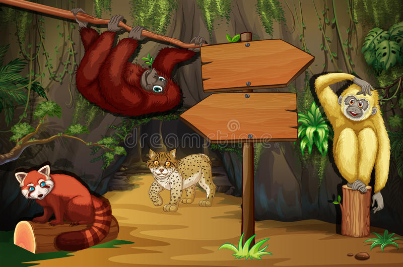 Wild animals in the cave stock illustration