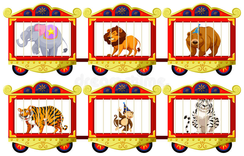 Wild animals in the circus cages royalty free illustration
