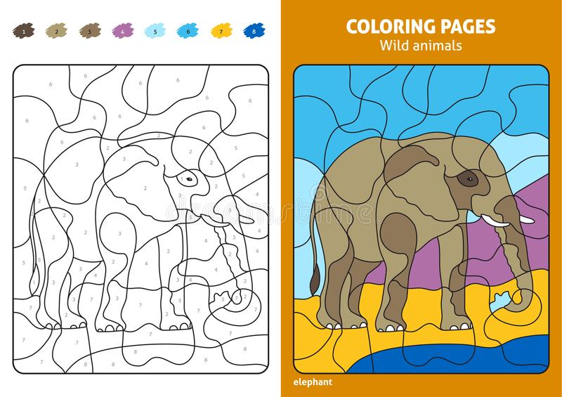 Wild animals coloring page for kids, elephant. Printable design coloring book. Coloring puzzle with numbers of color. Black and white draw with color example stock illustration
