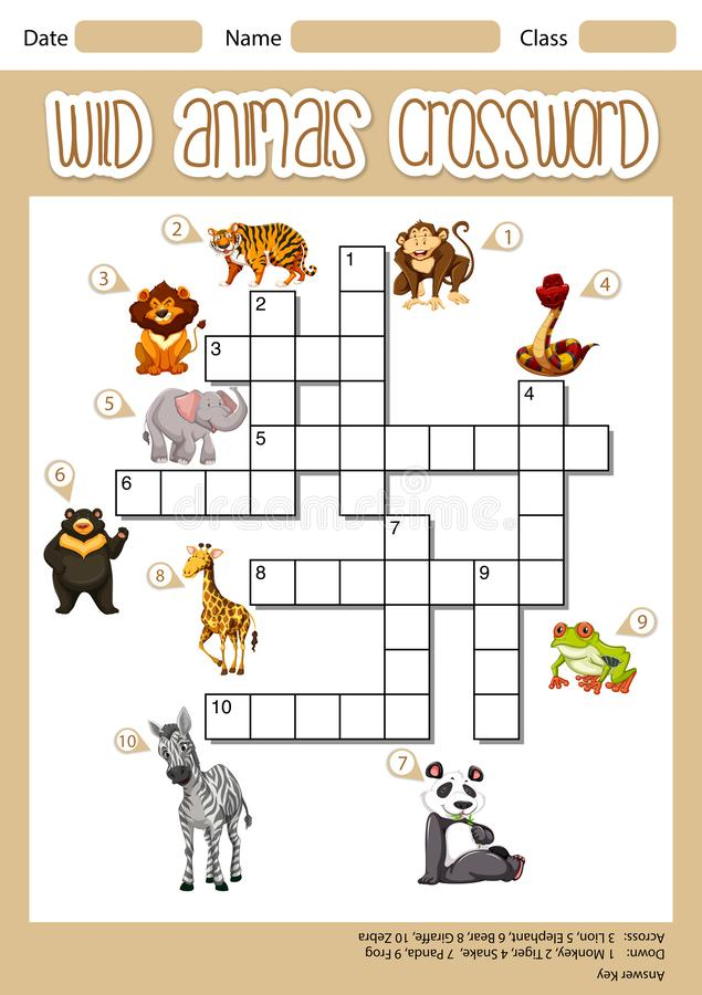 Wild animals crossword concept royalty free illustration