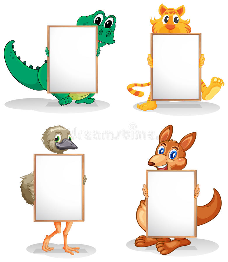Wild animals with empty bulletin boards. Illustration of the wild animals with empty bulletin boards on a white background vector illustration