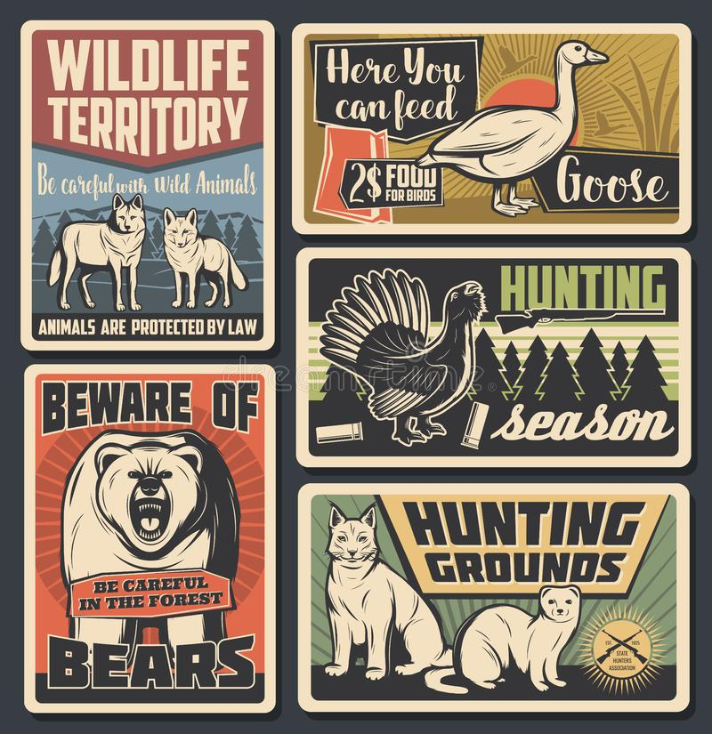 Wild animals natural park, wildfowl hunting season. Hunting open season, wild animals natural park and beware of bear warning vintage posters. Vector wildlife stock illustration