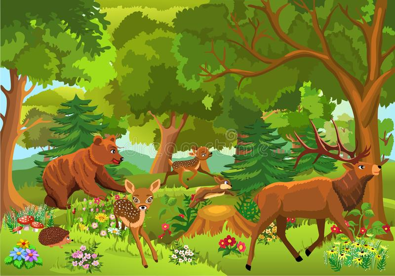 Wild animals playing and running through the forest. Wild animals like bear, stag, fawn, rabbit playing and running through the forest royalty free illustration