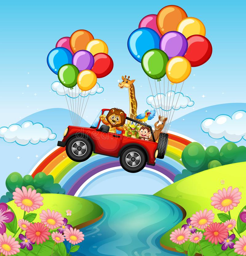 Wild animals riding on red jeep over river royalty free illustration