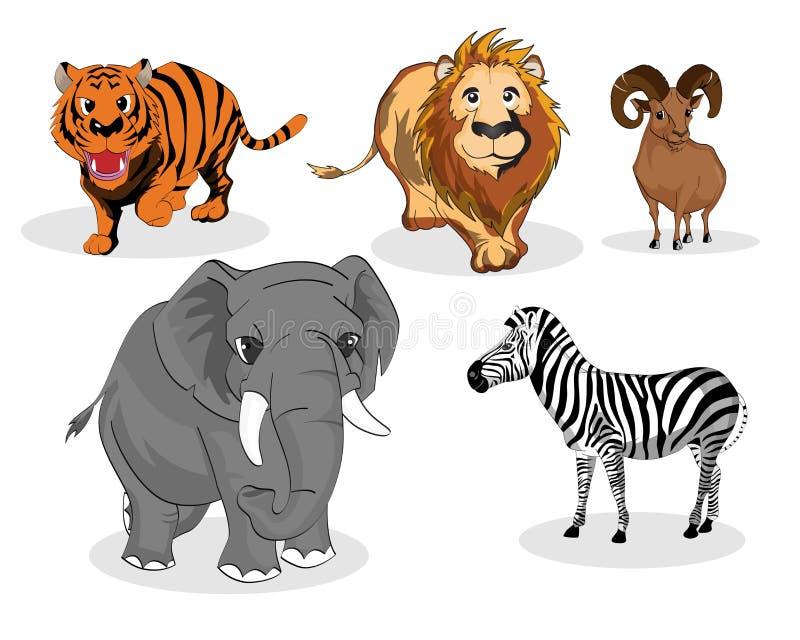 Wild animals set. Illustration of wild animals set on white background vector illustration