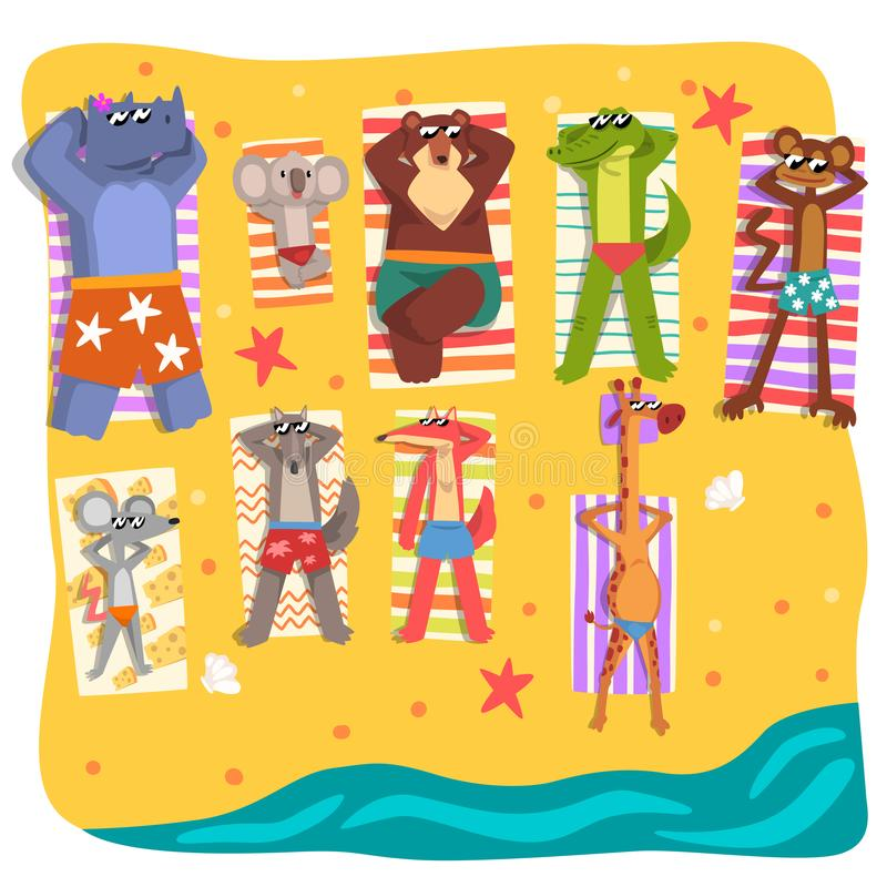 Free Wild Animals Sunbathing On The Beach, Cute Animals Cartoon Characters Relaxing On The Seashore At Summer Vacation Vector Stock Images - 129830114