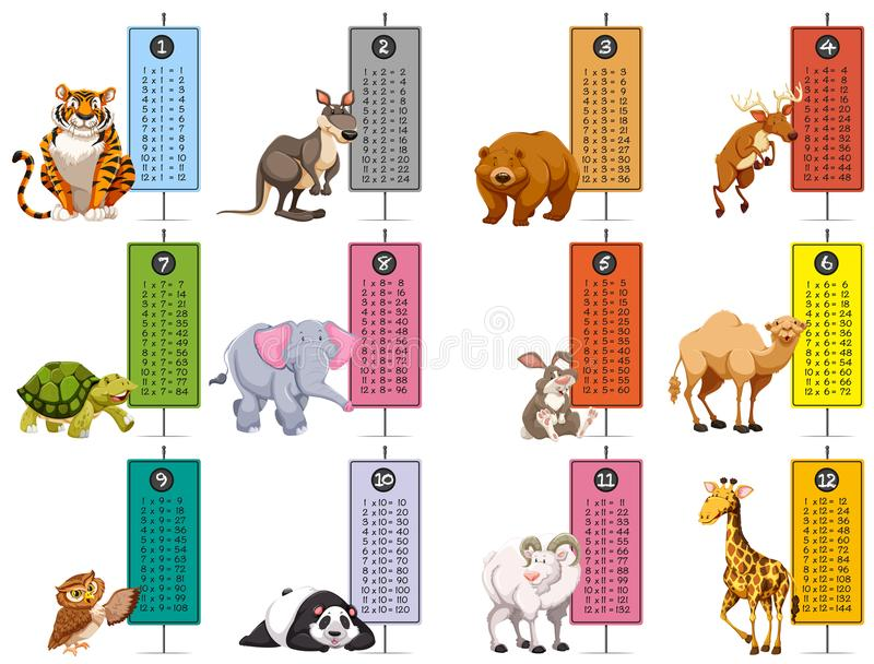 Wild animals and time tables template. Illustration vector illustration