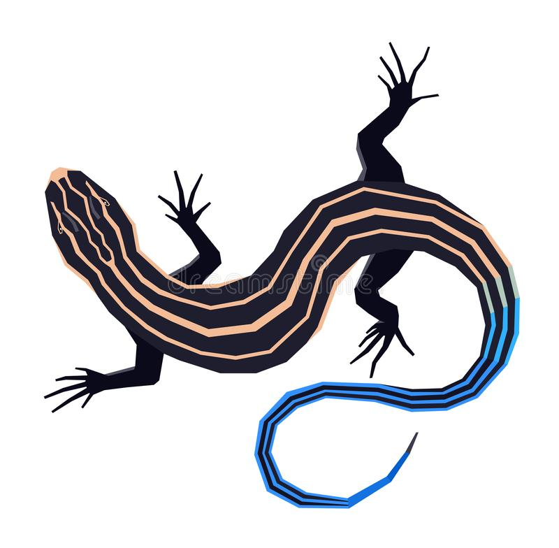 Wild animals Vector illustration of The five lined skink Isolated object Geometric style. Set vector illustration