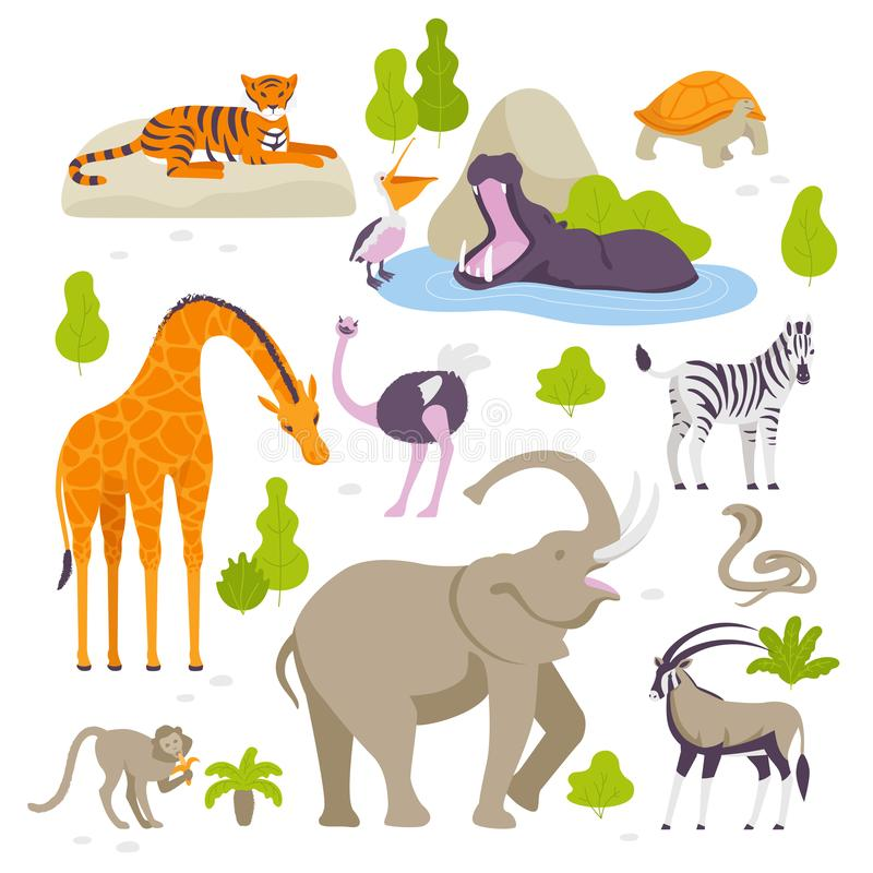 Vector Set Of Cartoon Wild Or Zoo Animals Stock Vector