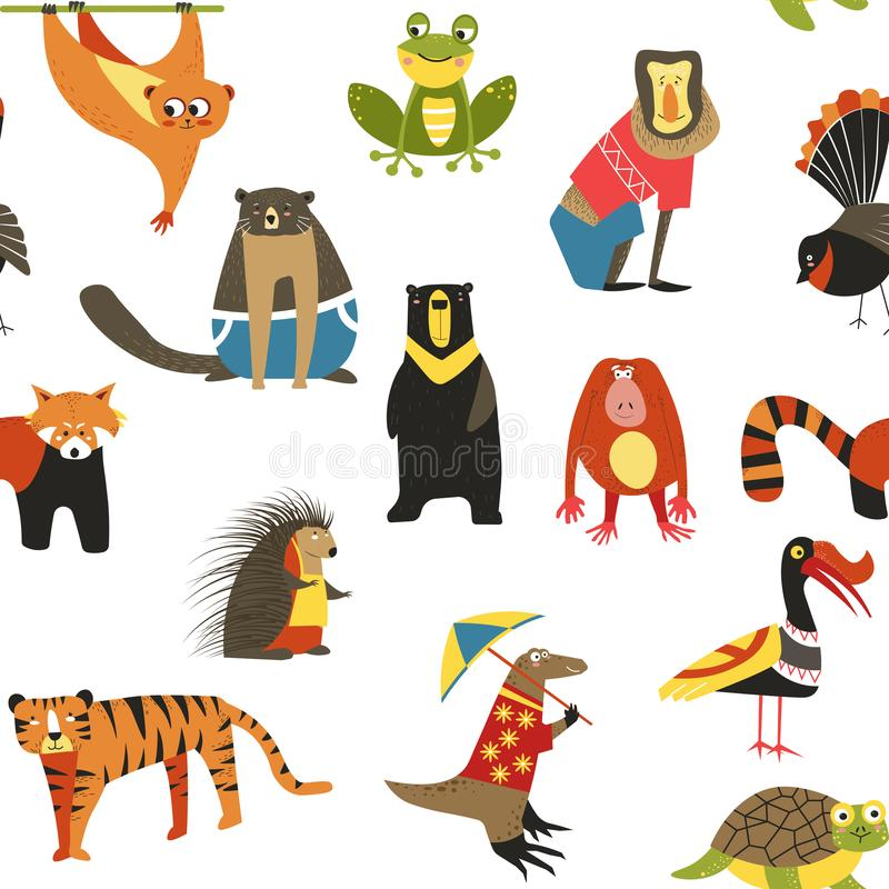 Free Wild Asian Animals And Birds Seamless Pattern Wildlife Stock Images - 154488504
