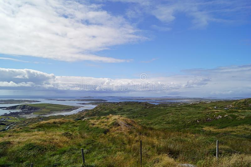 Wild Atlantik Way  Sky Road. Sky Road Bóthar na Spéire. The sky road is a scenic, circular drive, starting and ending in Clifden, the biggest town in royalty free stock photo