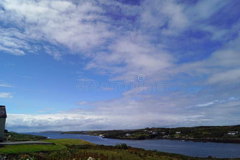 Wild Atlantik Way  Sky Road. Sky Road Bóthar na Spéire. The sky road is a scenic, circular drive, starting and ending in Clifden, the biggest town in stock photo