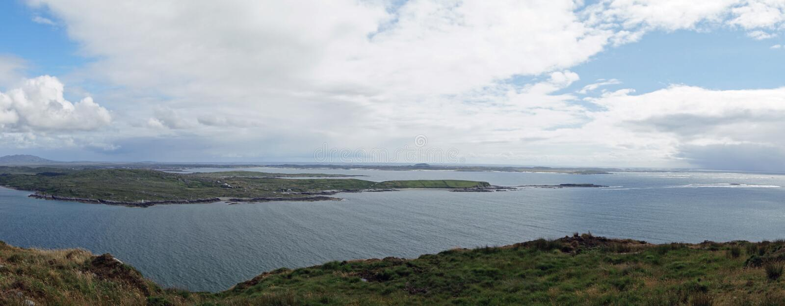 Wild Atlantik Way  Sky Road. Sky Road Bóthar na Spéire. The sky road is a scenic, circular drive, starting and ending in Clifden, the biggest town in stock image