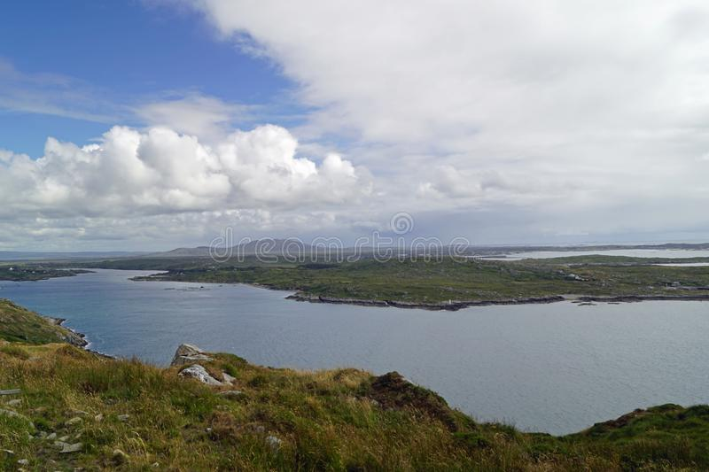 Wild Atlantik Way  Sky Road. Sky Road Bóthar na Spéire. The sky road is a scenic, circular drive, starting and ending in Clifden, the biggest town in stock images