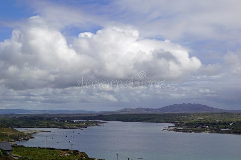 Wild Atlantik Way  Sky Road. Sky Road Bóthar na Spéire. The sky road is a scenic, circular drive, starting and ending in Clifden, the biggest town in royalty free stock photography