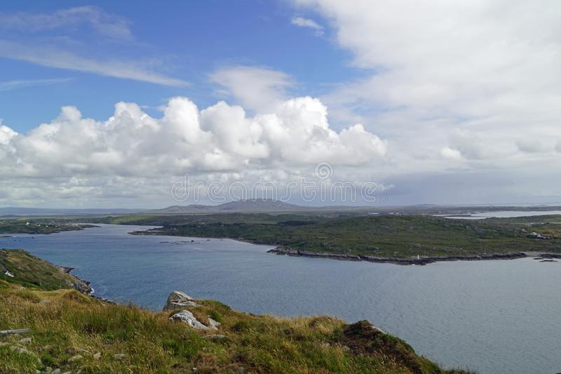 Wild Atlantik Way  Sky Road. Sky Road Bóthar na Spéire. The sky road is a scenic, circular drive, starting and ending in Clifden, the biggest town in royalty free stock image