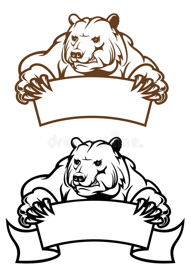 wild banerbjörnkodiak royaltyfri illustrationer