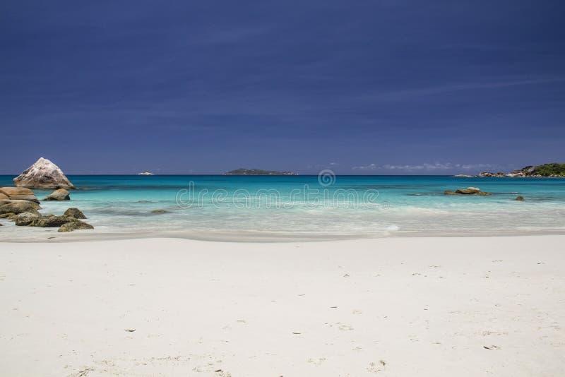 Wild beach in Seychelles stock photography