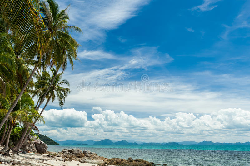 Wild beach on tropical island royalty free stock images