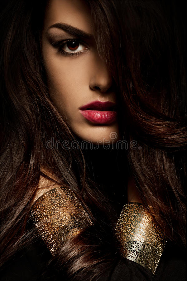 Wild beautiful black hair woman royalty free stock photography