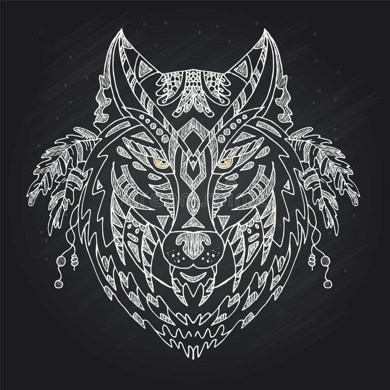 Wild beautiful wolf head hand draw on a chalk board background.Fashion boho american steam punk style in a vector illustration. Wild beautiful wolf head hand royalty free illustration