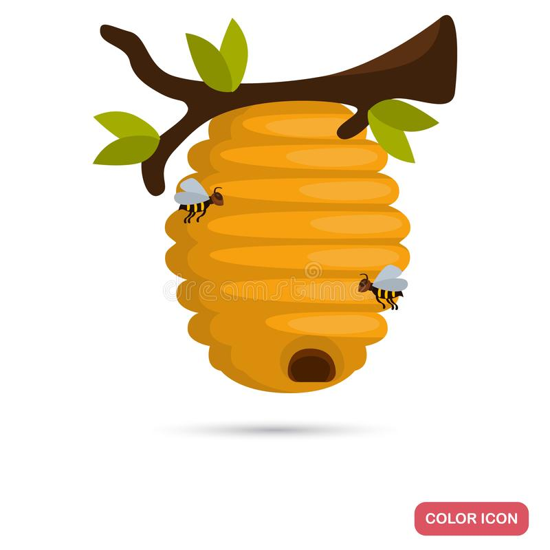 Wild bee hive hang at tree color flat icon. For web and mobile design stock illustration