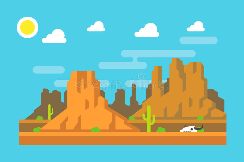 Wild berg vlak ontwerp de West- van Arizona vector illustratie