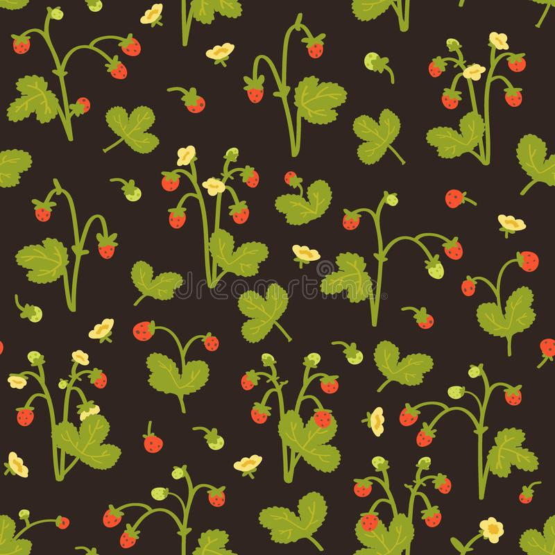 Wild bessen naadloos patroon op donkere achtergrond Aardbeien met hand-drawn stijl Vector illustratie royalty-vrije illustratie