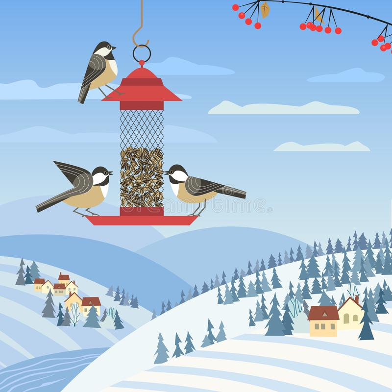 Wild birds feeding. Chickadee birds on feeder. Birdfeeding near winter rural community. Small bird of backyard minimal cartoon design. Robin birds feeding by stock illustration
