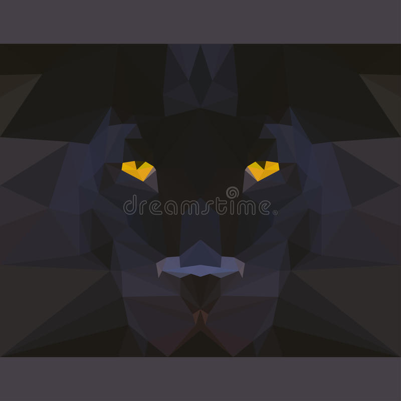 Wild black panther stares forward. Abstract geometric polygonal illustration vector illustration